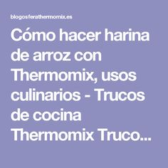 Cómo hacer harina de arroz con Thermomix, usos culinarios - Trucos de cocina Thermomix Trucos de cocina Thermomix