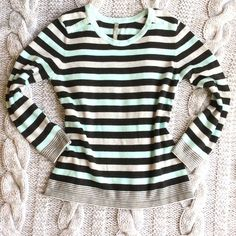 """Hanna Andersson Mixed Stripe Sweater Scoopneck sweater in stripes of grey, mint and black. Button detail on shoulders. Super comfy and cute! In perfect condition. 70% cotton, 30% polyester. Machine wash. 25"""" long. Hanna Andersson Sweaters Crew & Scoop Necks"""