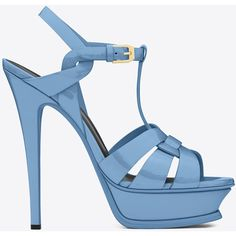 Saint Laurent Classic Tribute 105 Sandal ($750) ❤ liked on Polyvore featuring shoes, sandals, ankle strap shoes, high heel shoes, strappy stiletto sandals, strappy high heel sandals and high heel platform sandals
