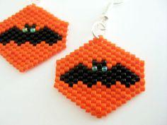 Beadwork Bat Peyote Earrings for Halloween Orange Black Beaded Beaded Seed Bead