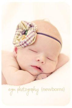 Purple Houndstooth Poppy Headband...Baby Flower Headband...Newborn Headband...Flower Headband...Baby Headband. $8.36, via Etsy.