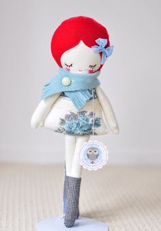 Adorable doll + sweet fabric color choices ~ Love LuLu nooshka doll by Casey Raymond of nooshkaetsy ~