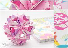 Etna Kusudama is a modular origami ball folded from rectangular sheets of paper. Designer: Maria Sinayskaya