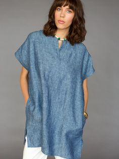 Linen Chambray Tunic Dress by nikki chasin for Of a Kind