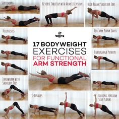 17 Easy Bodyweight Exercises for Functional Arm Strength These 17 bodyweight arm exercises sculpt and tone your arms anywhere, anytime, no gym required. But they also have one more trick up their sleeve: building functional upper body strength. Body Workout At Home, At Home Workouts, Weight Training, Weight Lifting, Losing Weight, Arm Workout No Equipment, Arm Workout No Weights, Tone Arms Workout, Body Fitness