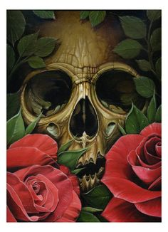 Skull with Roses  by Voss Fineart  http://www.creativeboysclub.com/