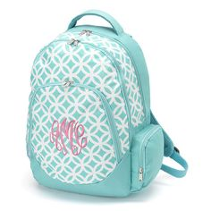Aqua monogrammed book bag from Simply Southern Monograms. Back to school