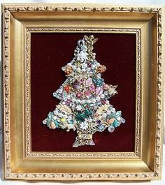 Vintage Jewelry Framed Christmas Tree – Handmade and Fabulous Good Tidings   eBay $149