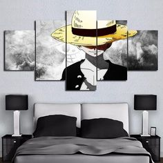 Monkey D. Luffy Anime Cartoon Framed 5 Piece Canvas Wall Art Painting Wallpaper Poster Picture Print Photo Decor - Large / Frame