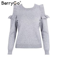 BerryGo Casual cold shoulder knitted sweater women Elegant selvedge sweater stringy pullover female Autumn winter jumper 2017
