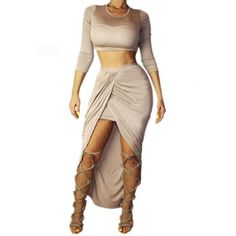 USD13.99Sexy O Neck Three Quarter Sleeves Beige Polyester Two-piece Ankle Length Bandage #Skirt Set