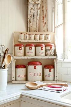 Vintage-Inspired Inglewood Cottage traditional food containers and storage  I'm in love....