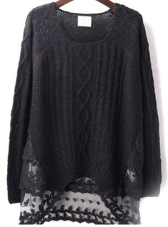 Romwe - Black Embroidered Mesh Sweater