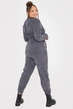 Megan Mckenna Grey Corduroy Oversized Boilersuit | In The Style Megan Mckenna, Boiler Suit, Dungarees, Corduroy, Jumpsuits, Winter Jackets, Normcore, Tv, Grey