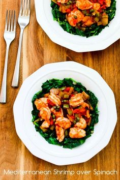 Mediterranean Shrimp over Spinach would make a lovely dinner for a special day! (Low-Carb, Paleo) [from KalynsKitchen.com]