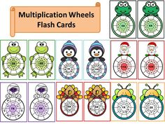 168 Multiplication Wheels Flash Cards by PrwtoKoudouni Multiplication Wheel, Math Fractions, Maths, Algebra, Learning, Wheels, A5, Tables, Notebook