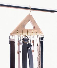 12 Secrets of the Closet Pros:   Hooks  Belts invariably get tangled up or lost on the closet floor. The solution? A neat hooked hanger that holds them with minimum fuss.