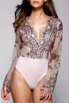 $19.05 Stylish Plunging Neck Long Sleeve Floral Sequined Women's Bodysuit