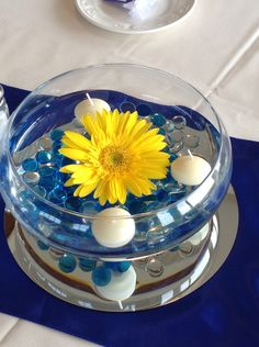 Yellow Gerbera daisy with floating candle centerpiece.