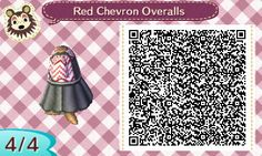 "cubbycloset: ""Here is my first QR code! It's a simple overall jumper with a red and white chevron shirt underneath. The flare part of the skirt doesn't line up perfectly, but I think it's good for a..."