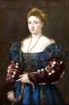 """""""La Bella"""" or """"Woman in the Blue Dress"""", Titian, 1530's."""
