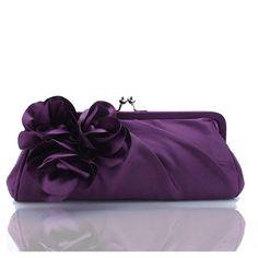 Zicac Ladies Satin Evening Wedding Prom Party Flowers Clutch Handbag Women Girl Shoulder Bag (Purple)