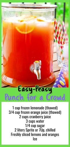 9 Easy Punch Recipes For a Crowd - Simple Party Drinks Ideas (both NonAlcoholic and With Alcohol) - Involvery Easy Punch for a Crowd - Easy Punch Recipes for a Crowd and Easy Party Drinks Ideas - Cranberry Vodka Punch, Pineapple Orange Juice Punch Recipe For A Crowd, Holiday Punch Recipe, Easy Punch Recipes, Food For A Crowd, Simple Punch Recipe, Punch Recipe With Sprite, Wedding Punch Recipes, Best Punch Recipe, Brunch Ideas For A Crowd