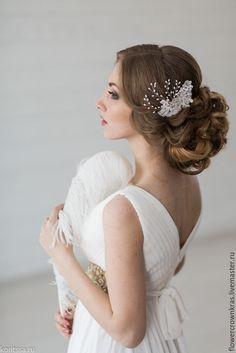"""Купить Свадебное украшение """"Кружевная веточка """" - белый, веточки жемчужные, веточки, жемчуг натуральный"""
