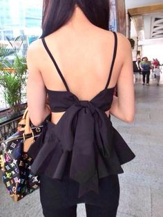 Bow Tied Back Peplum Top in Black | Choies