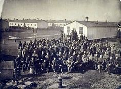 Camp Douglas, Military Prison near Chicago. Total of about 30,000 prisoners; high point was Dec 1864, with more than 12,000 names on the roll, at least 4,450 of whom died (a death rate of 9%).