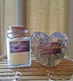 Handmade, Baby powder Scented Candle & soap set, Vegan friendly, Valentines gift, gift for her, gift for him, by Heaven Senses by HeavenSenses on Etsy