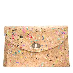 Leisure on FAB.com - This must-have envelope clutch plays artful tricks on the eye with its cork-like material and '80s-inspired colorful splatter paint details.
