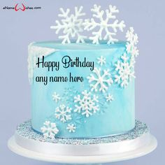 write name on pictures with eNameWishes by stylizing their names and captions by generating text on Snowflake Birthday Cake Ideas with Name with ease.