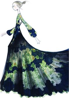 """Dress """"Le Bois de Diane"""" in """"thé vert"""" lace and silk chiffon and ramages. Valentino Sketch"""