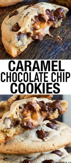 Caramel chocolate chip cookies! This yummy, gooey dessert is simple and delicious. Caramel Chocolate Chip Cookies, Salted Caramel Chocolate, Chocolate Caramels, Cookies With Caramel, Salted Caramels, Desserts Caramel, Chocolate Chips, Carmel Cookies, Caramel Treats