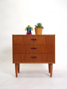 Sweet little teak wooden chest of drawers