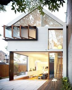 Interior/exterior space. Step UP on the inside. Interesting idea