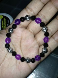 Purple, Black and Silver Bead Bracelet
