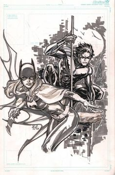 Photo pose with batarang (Batgirl and Nightwing by Ken Lashley)