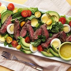 STEAK SALAD with CREAMY GARLIC VINAIGRETTE	 You get the best of both worlds in this one! A juicy steak hot off the grill or pan, plus lots of leafy greens, good fat, and still more protein. This is a hearty meal -- plan on bringing a big appetite to the table for this one. And don't skip that easy 6-ingredient garlic vinaigrette...it ties this steak/salad combo together in garlicky goodness like nothing else. With any luck, you'll have leftovers -- pack them up with extra dressing for an…