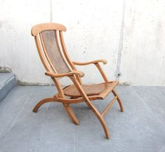 RESTORED Antique lounge chair from / Solid beech wood and Hand woven cane / Art noveau / Large foldable armchair Antique Chairs, Vintage Chairs, Antique Chandelier, Outdoor Chairs, Outdoor Decor, Rocking Chair, Wooden Boxes, Accent Chairs, Restoration