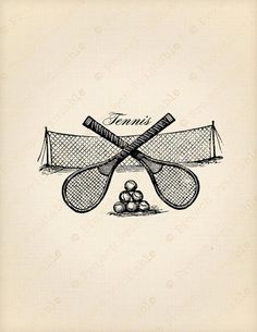 Vintage Victorian sport TENNIS racket ball & net - Printable Sporting Fabric Transfer - Instant Down #Tennis