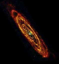 Cool Andromeda - ESA Herschel space observatory image of Andromeda (M31) using both PACS and SPIRE instruments to observe at infrared wavelengths of 70 mm (blue), 100 mm (green) and 160 mm and 250 mm combined (red).   ESA/Herschel/PACS & SPIRE Consortium, O. Krause, HSC, H. Linz