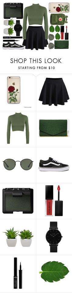 """""""Green Day ♥︎"""" by mylifeasabeautifuldisaster ❤ liked on Polyvore featuring WithChic, WearAll, Ray-Ban, Vans, NARS Cosmetics, Smashbox, CLUSE, Giorgio Armani, Fjällräven and Original"""