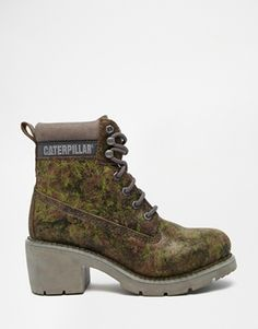 Cat Footwear Ottawa Green Camo Heeled Leather Ankle Boots
