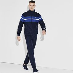 Tennis Lacoste SPORT tracksuit in color block print taffeta