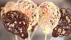 Pin for Later: 21 Homemade Ways For Chocoholics to Get Their Fix Chocolate Lace Lollipops Get the recipe: chocolate lace lollipops