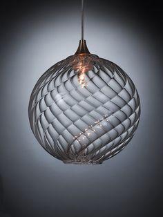 BREATH: GLOBE - Contemporary chandelier by Shakuff - exotic glass lighting & decor Blown Glass Pendant Light, Globe Pendant Light, Glass Pendants, Kitchen Pendants, Interior Lighting, Home Lighting, Pendant Lighting, Pendant Chandelier, Bedside Pendant Lights