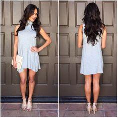 Turtleneck Jersey Dress - Heather Grey