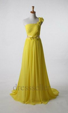 One Shoulder Yellow Pleated Long Prom Dresses Evening by Tinadress  $95.00